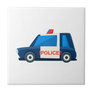 Black And White Police Toy Cute Car Icon Tile
