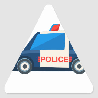 Black And White Police Toy Cute Car Icon Triangle Sticker