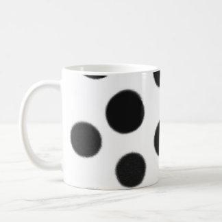 black and white polka dot coffee mug