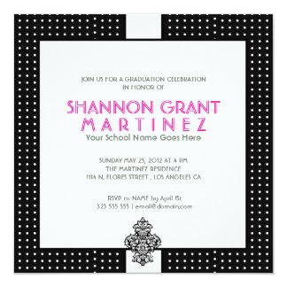 Black And White Polka-Dot-Elegant Grad Invite