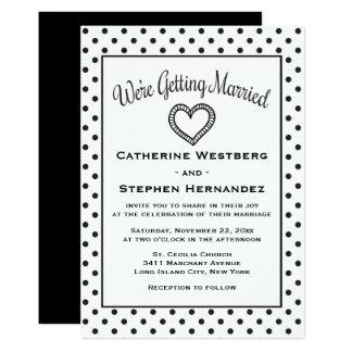 Black And White Polka Dot Heart Wedding Card