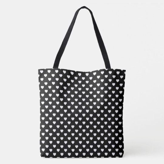 Black And White Polka Dot Hearts Pattern Tote Bag