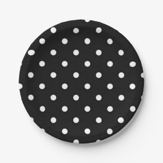 Black and white polka dot modern glamour paper plate