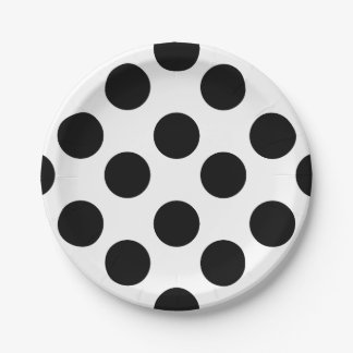 Black and White Polka Dot Paper Plates