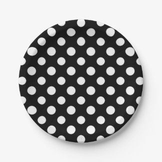Black and White Polka Dot Pattern 7 Inch Paper Plate