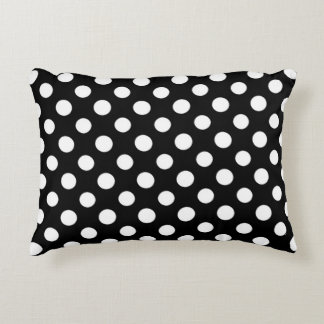 Black and White Polka Dot Pattern Accent Pillow