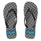 Black and White Polka Dot Pattern Blue Monogram Flip Flops