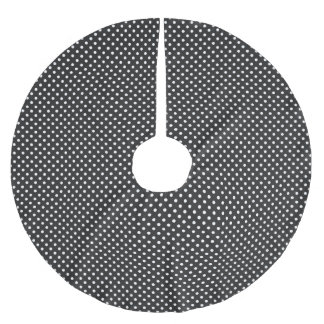 Black and White Polka Dot Pattern Brushed Polyester Tree Skirt