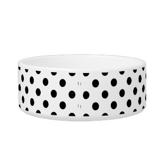 Black and White Polka Dot Pattern Cat Water Bowl