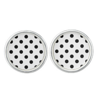 Black and White Polka Dot Pattern Cuff Links