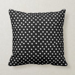 Black and White Polka Dot Pattern Cushion Throw Pillow