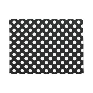 Black and White Polka Dot Pattern Doormat