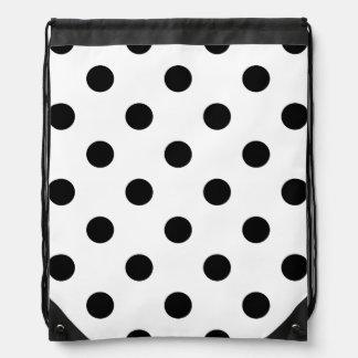Black and White Polka Dot Pattern Drawstring Bag