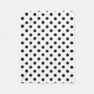 Black and White Polka Dot Pattern Fleece Blanket