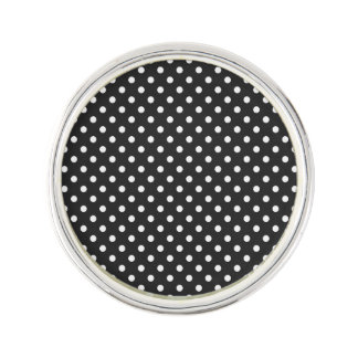 Black and White Polka Dot Pattern Lapel Pin