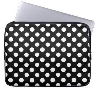 Black and White Polka Dot Pattern Laptop Sleeve