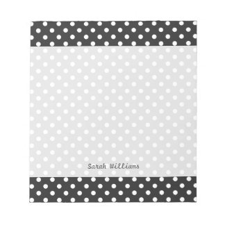 Black and White Polka Dot Pattern Notepad
