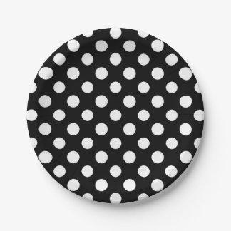 Black and White Polka Dot Pattern Paper Plate