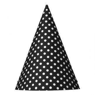 Black and White Polka Dot Pattern Party Hat