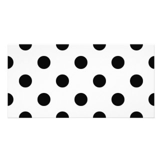 Black and White Polka Dot Pattern Personalized Photo Card