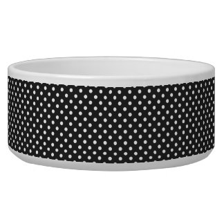 Black and White Polka Dot Pattern Pet Food Bowls
