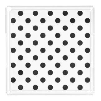 Black and White Polka Dot Pattern Serving Tray