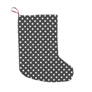 Black and White Polka Dot Pattern Small Christmas Stocking