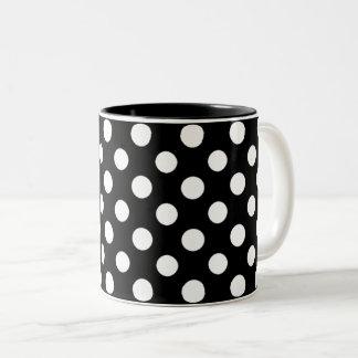 Black and White Polka Dot Pattern Two-Tone Mug