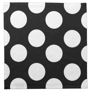 Black and White Polka Dot Print Cloth Napkins