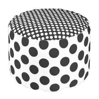 Black and White Polka Dot Print Pouf
