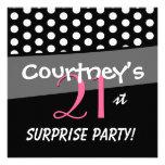Black and White Polka Dot Surprise Birthday Party Invite