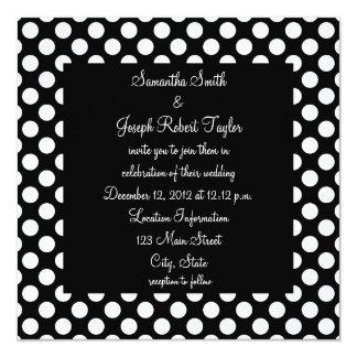 "Black and White Polka Dot Wedding 5.25"" Square Invitation Card"