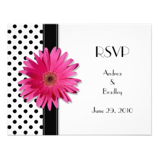 Black and White Polka Dot Wedding RSVP Card Personalized Invites