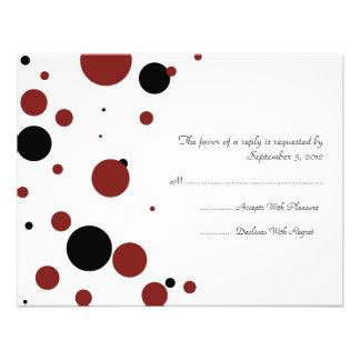 Black and White Polka Dot Wedding RSVP Personalized Invite