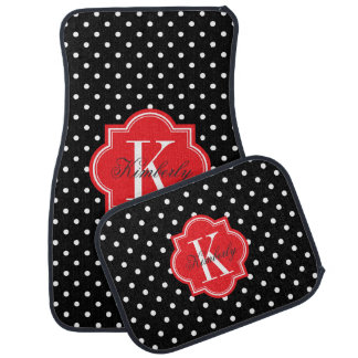 Black and White Polka Dot with Red Monogram Car Liners