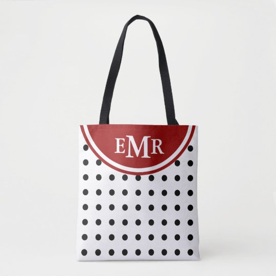 Black and White Polka Dot With Red Monogram Tote Bag