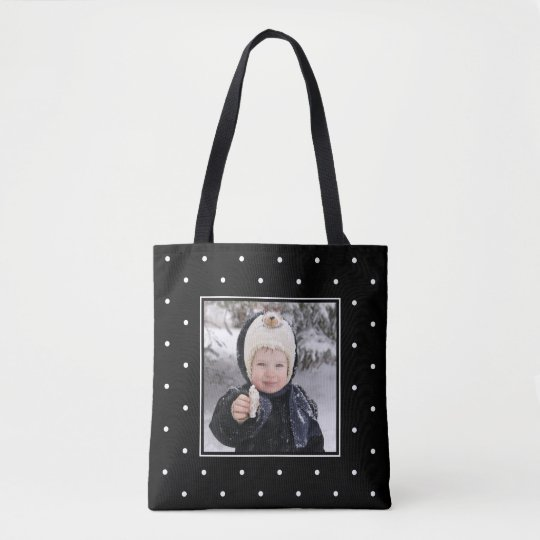 Black and White Polka Dots | Add Two Photos Tote Bag