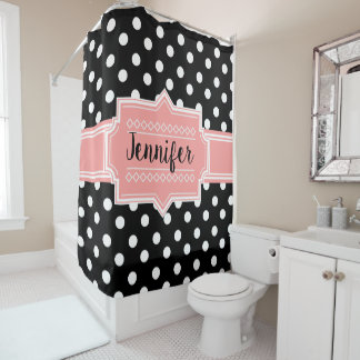 Black and White Polka Dots Coral Shower Curtain