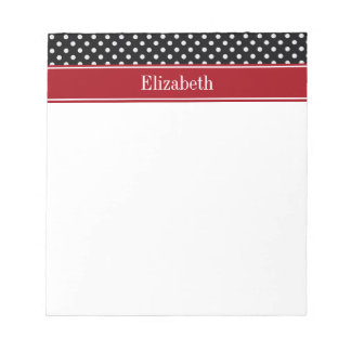 Black and White Polka Dots Cranberry Name Monogram Notepad