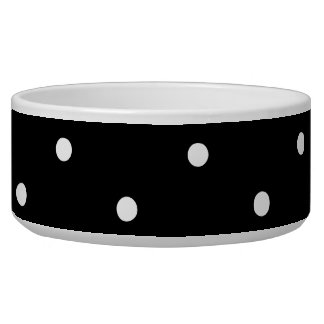 Black and White Polka Dots Dog Water Bowl