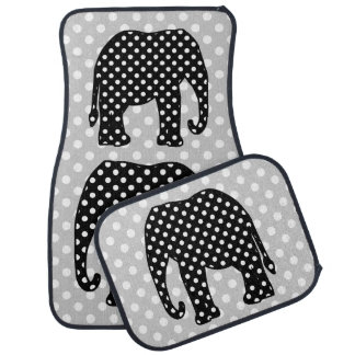 Black and White Polka Dots Elephant Car Floor Carpet