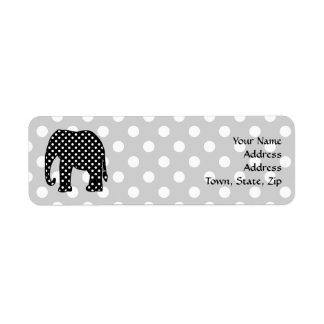 Black and White Polka Dots Elephant Return Address Label