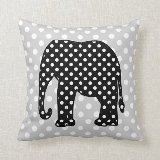 Black and White Polka Dots Elephant Throw Pillow