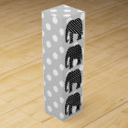 Black and White Polka Dots Elephant Wine Gift Box