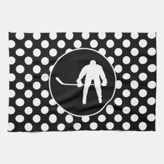 Black and White Polka Dots; Hockey Kitchen Towel