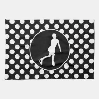 Black and White Polka Dots; Ice Figure Skating Kitchen Towel