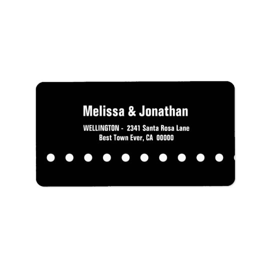 Black and White Polka Dots Modern V04 Label