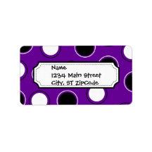 Black and White Polka Dots on Purple Circles Address Label