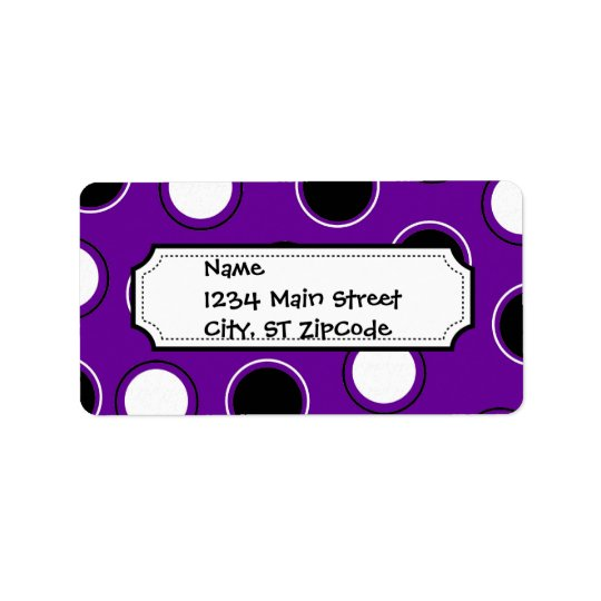 Black and White Polka Dots on Purple Circles Label