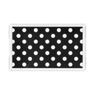 Black and White Polka Dots Pattern Acrylic Tray